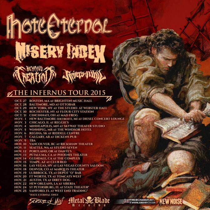 Hate Eternal, Misery Index, Beyond Creation, Rivers of Nihil and Replacire at Brighton Music Hall